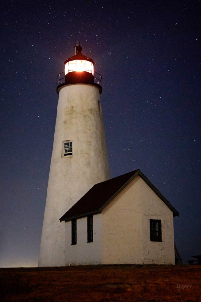 night photography of bakers Island Lighthouse