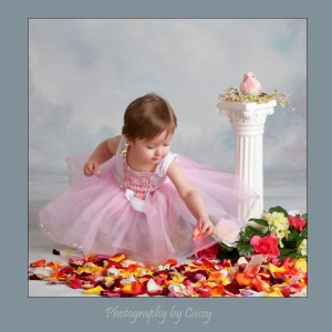 Photographer of baby girl in tutu and rose petals