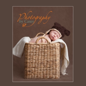 newborn baby sleeping in basket with bear hat photographer