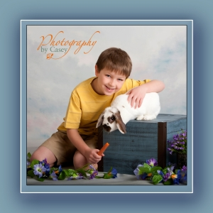 photography of bunny and little boy