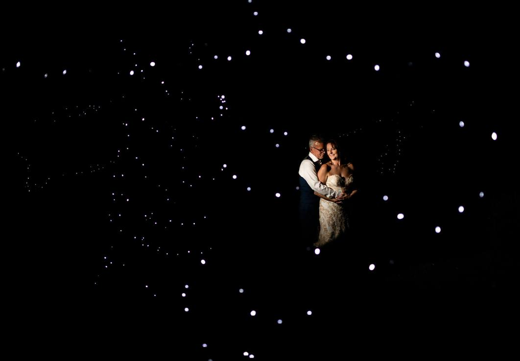An evening portrait of the bride and groom in Alsager Cheshire