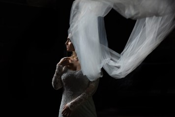A bride and her veil