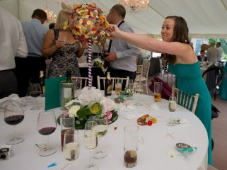 Guests help themselves to sweets