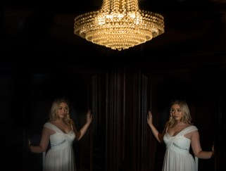 Bridal reflection and chandelier
