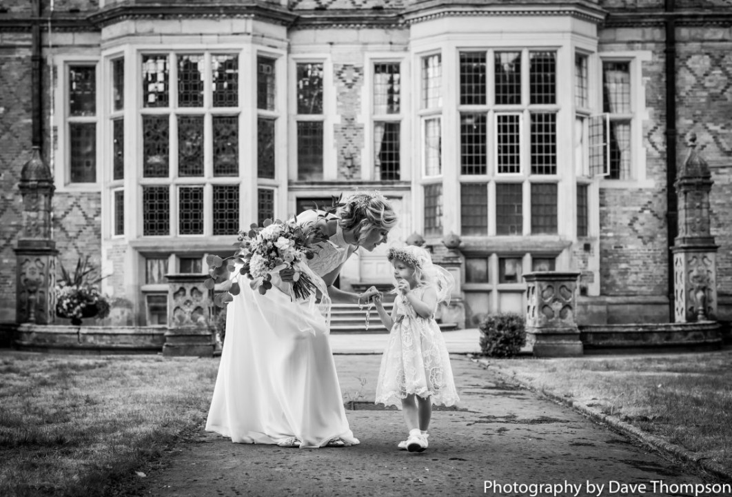 Bride and her daughter outside Crewe Hall
