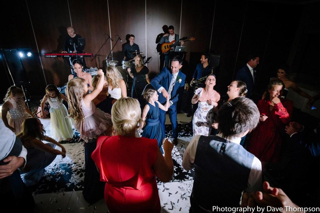Dancing on the dance floor in the evening