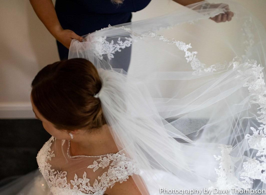 Detail of the bridal veil