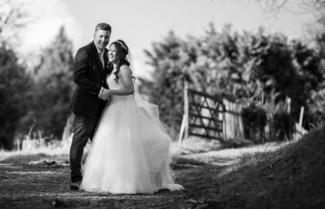 A bride and groom after their wedding at Hollin Hall Hotel in Cheshire
