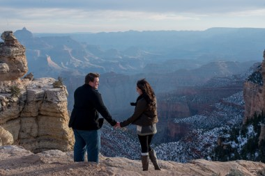 Snowy engagement photo at the canyon