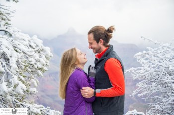 Engagement in snow at grand canyon