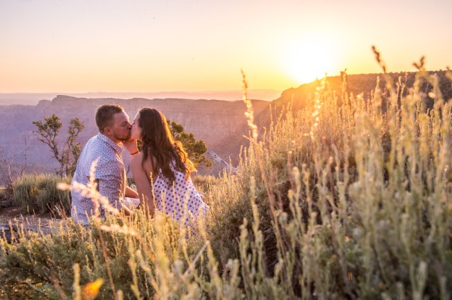 Sunrise engagement at Grand Canyon