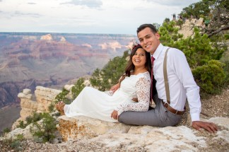 7.27.17 Kathleen and Gabriel Yavapai Point and Duck on a Rock Rock Grand Canyon South Rim Monsoon Season photography by Terri Attridge-173