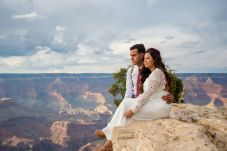7.27.17 Kathleen and Gabriel Yavapai Point and Duck on a Rock Rock Grand Canyon South Rim Monsoon Season photography by Terri Attridge-229