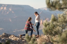 Two ladies getting engaged at Grand Canyon