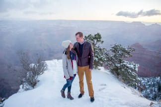 On the edge of Grand Canyon in snow