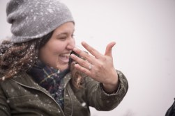 The engagement ring shot in the snow