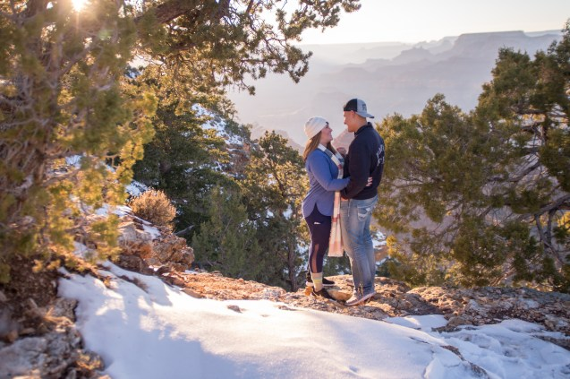 Proposal at Grand Canyon with snow