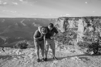 brothers fighting on the rim at Grand Canyon