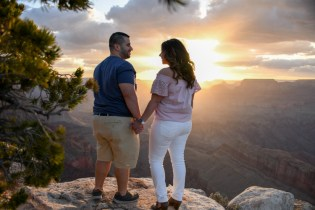 A couple at sunset at the South Rim