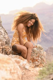 modeing photo at the canyon