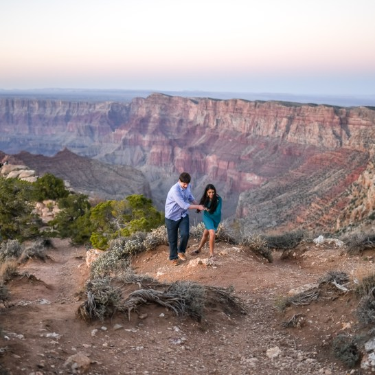 Surprise and Laughter at the Surprise Engagement Proposal Grand Canyon