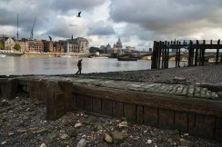 DSC_2397, South Bank Tower, London, United Kingdom, 11/2013, UNITED_KINGDOM-10018. A man walks along the riverside. CHECK IMAGE USAGE. Retouched_Sonny Fabbri 12/4/2013