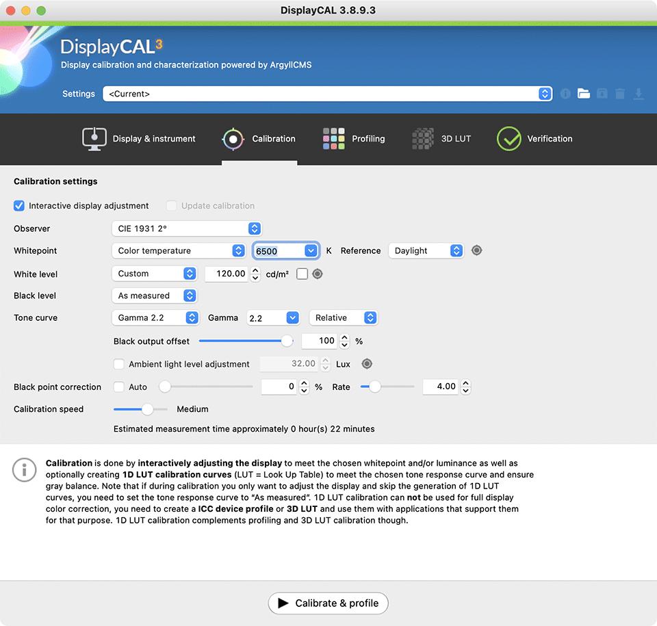 DisplayCAL Calibration Tab