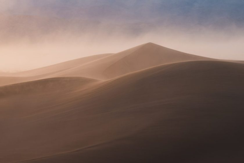 Pyramid-Shaped Sand Dune in Death Valley National Park at Sunset