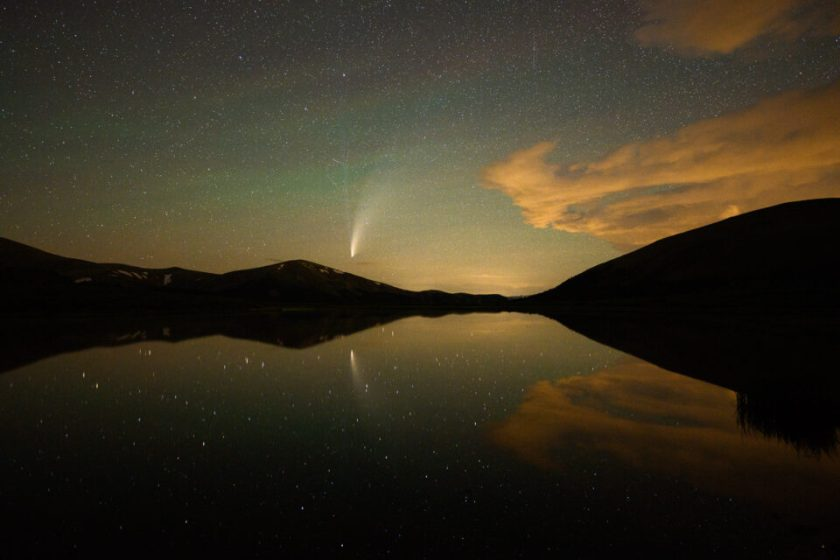 Comet NEOWISE reflected in a lake