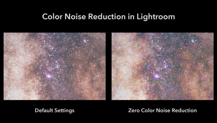 Lightroom Color Noise Reduction Default vs Zero Color Noise Reduction