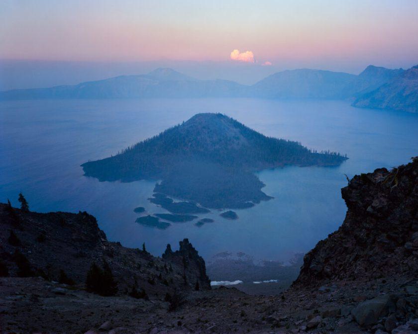 Crater Lake Smoky Sunset 4x5