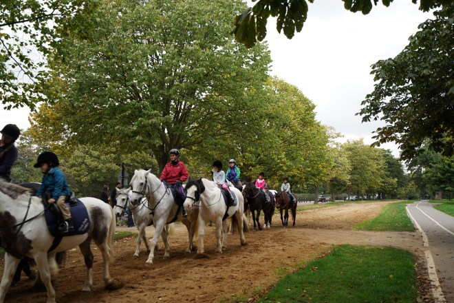 Children having pony rides in the park (from last week when we went to London)