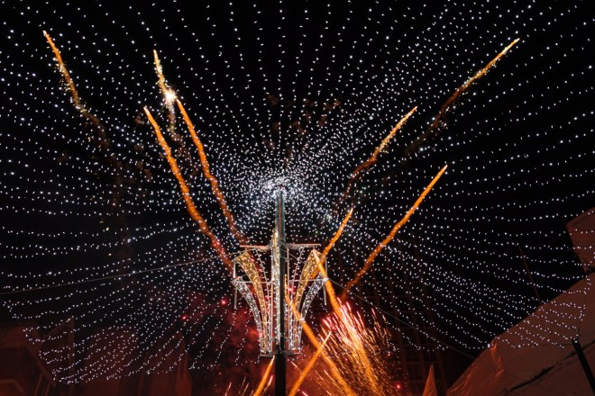 Fireworks and Christmas Lights above us as we stood in the Mall.