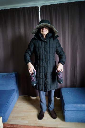 Stephen modelling coat and shoes