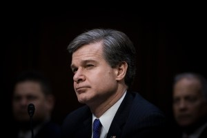 FBI Director Chris Wray at the Worldwide Threats Assessment Senate briefing Feb 13, 2018