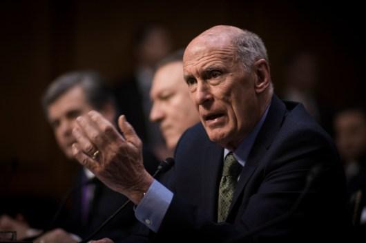 Intel Director Dan Coats at the Worldwide Threats Assessment Senate briefing Feb 13, 2018