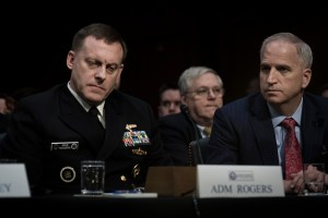 NSA Director Admiral Mike Rogers & Director NGA, Robert Cardillo at the Worldwide Threats Assessment Senate briefing Feb 13, 2018