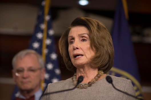 Rep. Nancy Pelosi (D-Calif.) speaks on Feb 8, 2018, a day after her historic 8 hour speech on the House floor, (Photo Doug Christian/TMN)