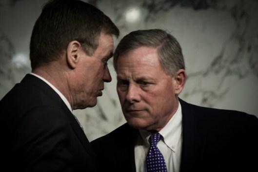 Sen Warner & Sen Burr at the Worldwide Threats Assessment Senate briefing Feb 13, 2018