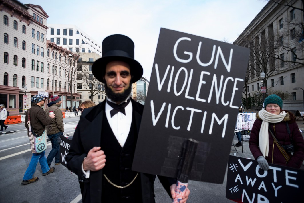 Peter Straus plays Abraham Lincoln at the March for Our Lives, on Pennsylvania Ave. NW, Washington, D.C., March 24, 201838