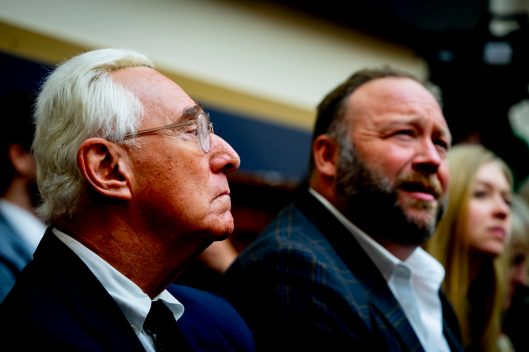ROGER STONE and ALEX JONES watch SUNDAR PICHAI, CEO of Google, testify before the House Judiciary Committee, December 11, 2018