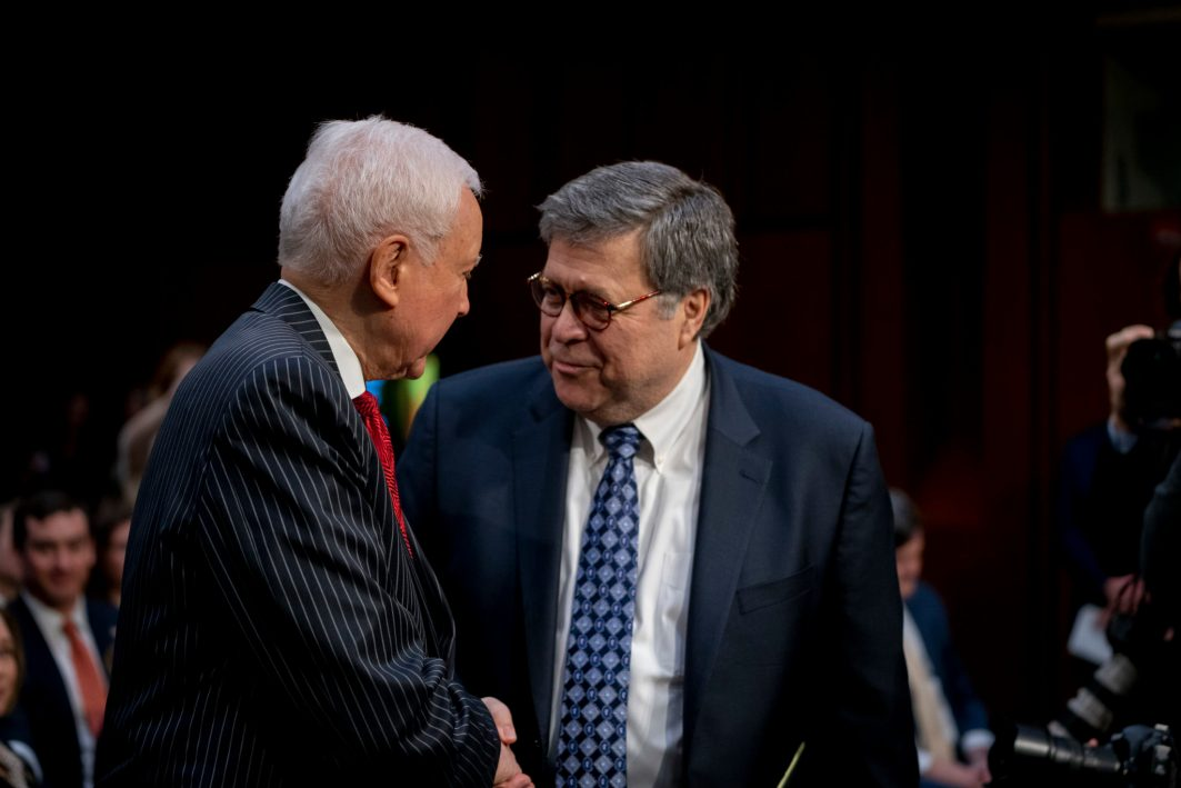 Former Senator ORRIN HATCH greets AG nominee WILLIAM BARR his Senate Judiciary Committee confirmation hearing to become Attorney General of the United States, January 15, 2019