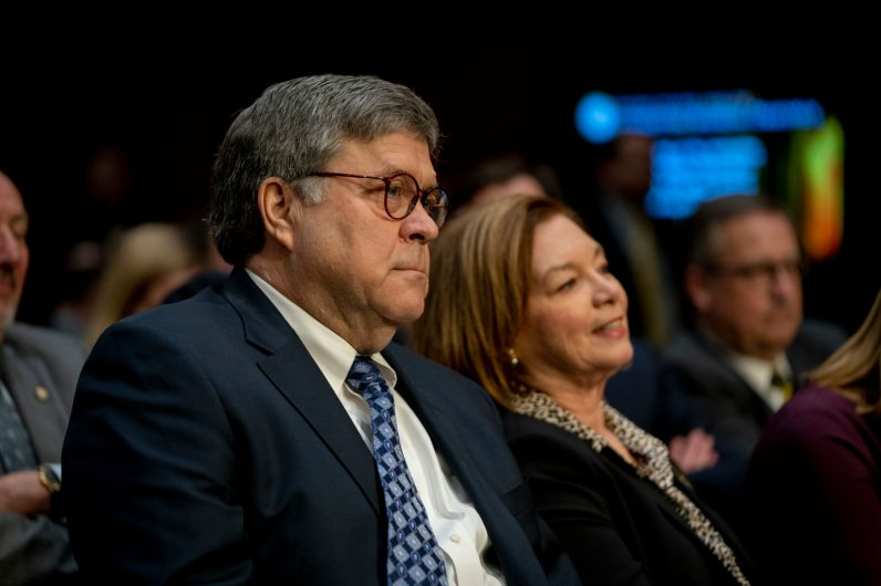 WILLIAM BARR with his wife at his Senate Judiciary Committee confirmation hearing to become Attorney General of the United States, January 15, 2019