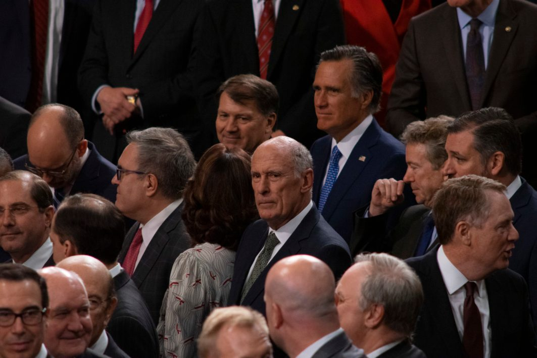 Lawmakers mingling before President DONAL TRUMP delivers the State of the Union address, February 5, 2019. People include Senator MITT ROMNEY (R-UT), DNI DAN COATS, CIA Director GINA HASPEL, Senator RON PAUL (R-KY), Senator TED CRUZ (R-TX) and Secretary of the Treasury, STEVEN MNUCHIN.