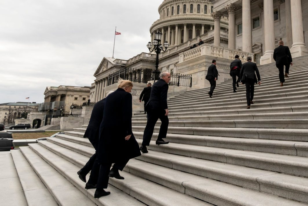 President DONALD TRUMP arrives at Capitol Hill to meet with Senate Republicans to resolve the government shutdown, January 9, 2019