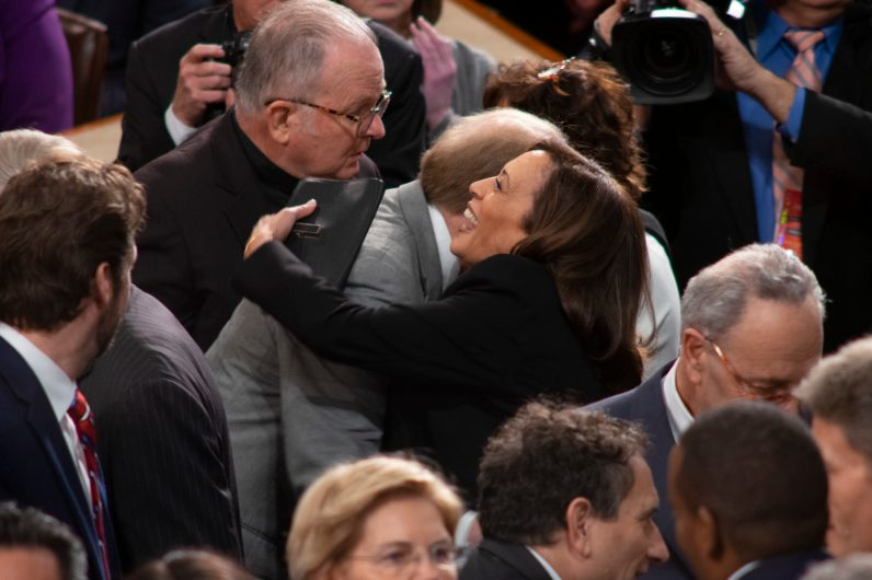 The Reverend PATRICK J. CONROY, S.J. and Senator KAMALA HARRIS (D-CA) at the State of the Union address, February 5, 2019