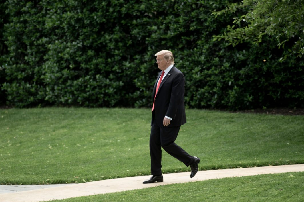 President DONALD TRUMP, before departing on Marine One on his first leg of a MAGA rally in Montoursville, Pennsylvania, when asked by reporters about statements from Republican Representative Justin Amash of Michigan that TRUMP's actions of obstruction are impeachable, TRUMP says Amash is 'not much', May 20, 2019