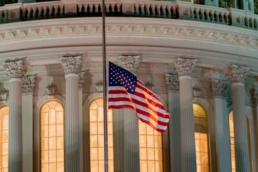 United States flag flying at half-mast as the body of former Chairman of the House Oversight Committee Elijah Cummings lies in state, October 24, 2019