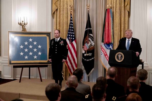 President DONALD TRUMP awards Green Beret, Army Master Sgt. MATTHEW WILLIAMS, of Boerne, Texas, the Medal of Honor, the nation's highest military honor, for his heroic actions while serving in Afghanistan's Shok Valley in 2008. He was critical in ensuring the evacuation of his wounded teammates from a mountain as the unit took fire from insurgents. Oct. 30, 2019