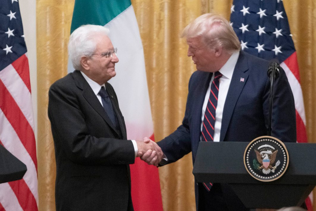 """President Donald Trump welcomes President of the Italian Republic Sergio Mattarella to The White House, Oct. 16, 2019. When asked by a reporter about Turkey's onslaught against the Kurds, Trump replied, """"They're not angels. They're not angels. Take a look. You have to go back and take a look."""" Of the situation in Syria, Trump added,""""That has nothing to do with us,"""" Mr. Trump said. """"They've got a lot of sand over there ... There's a lot of sand they can play with."""""""
